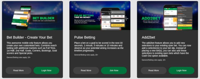 SureBet247 mobile special features