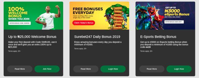 SureBet247 promotions